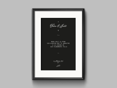 Pedro & Judit - Gift - gift poster married marry typography minimal clean