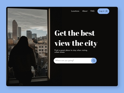 Travel Site Hero Section minimal web ux ui design