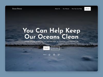 Environmental Nonprofit Hero Section minimal ui ux web design