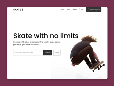 Skate Park Hero Section ux web ui design minimal