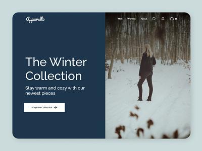 Winter Clothing Store Hero ux web ui design minimal