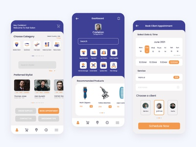 Salon Mobile App - UI Design mobile app barber shop wireframing prototyping design graphic design