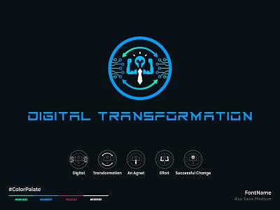 Digital Transformation Logo gradient tech transformation unique abstract techy logo app smart ai icon digital futuristic it signal design brand identity a b c d e f g h i j k l m n