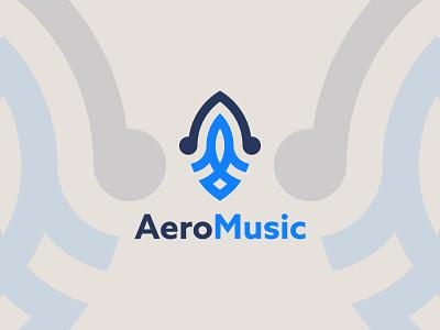 Aero Music airbuds headset airphone hiphop beat headphone audio band music music logo aeroplane flat logo letter logo minimalist logo logo mark brand identity
