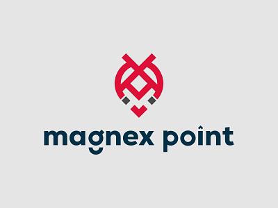 MagneX  Point Logo Concept square letter x clean modern electrick location field magnet symbol monogram point logo x logo a b c d e f g h i j k l m n flat logo letter logo minimalist logo logo mark brand identity