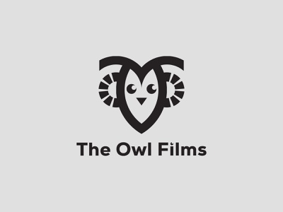 The Owl Films house production media owl cinema film monogram symbol unique modern illustration icon flat logo minimalist logo a b c d e f g h i j k l m n logo mark brand identity