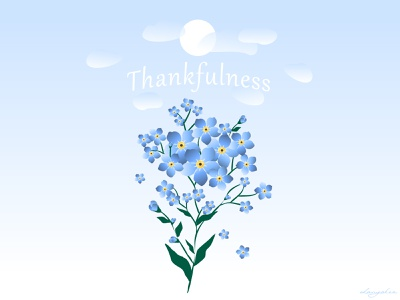 Thankfulness forget me not vector illustration vector art springtime spring thankful first post first shot thank you thankyou thanks illustration vector
