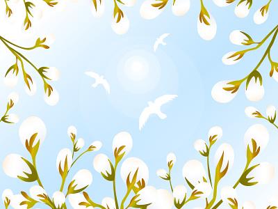 Spring Sky vector botanical sunlight botany nature buds blossom bloom blue easter palm sunday white serenity heaven willow sun birds sky springtime spring