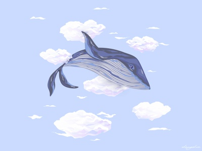 Dreamy Sky Whale big giant great whale illustration vectorgraphic vectorgraphics vectorartwork vectorart vector illustration clouds cloud fish whales whale heaven sky dream illustration blue vector