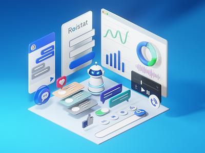 Roistat - Smart Marketing Analytics System 3d illustration roistat roi tools chart analytics eevee blender 3d blender3d blender 3d icons 3d modeling 3d art 3d illustration
