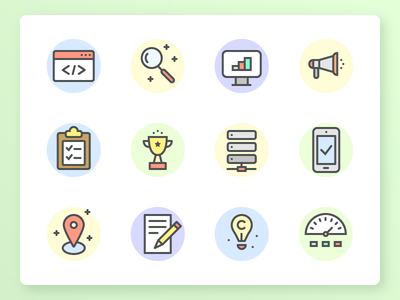 SEO & Development Icon Set search engine optimization icon pack icon set pixel perfect icons ui icons stroke icons flat icons vector icons outline icons line icons color icons seo