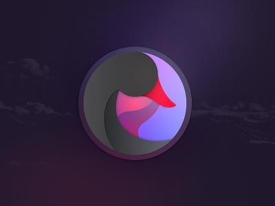 Black Swan Icon spiral gradient vortex icon swan black