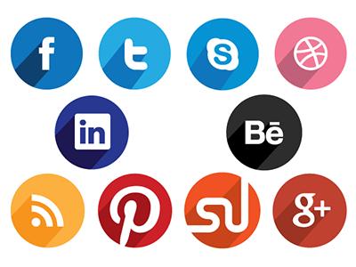 Free Flat Long Shadow Design Social Media Icons flat icons social media free