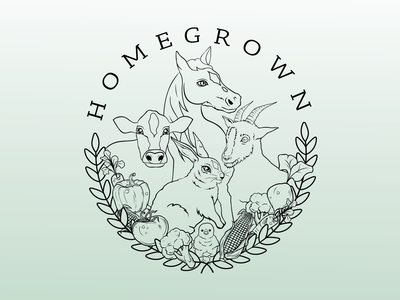 Homegrown outline wheat broccoli tomato corn carrot leaves farm animals homestead food vegetables cow chicken bunny goat horse branding logo vector design