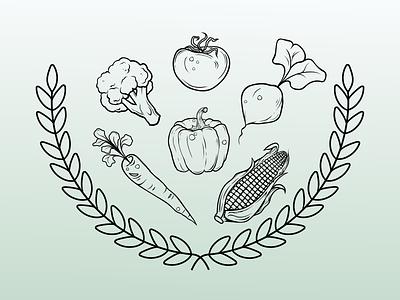 Vegetable Assets outline produce illustration vector illustrator farming logo branding art design farm plants harvest tomato beets carrot corn broccoli wheat pepper