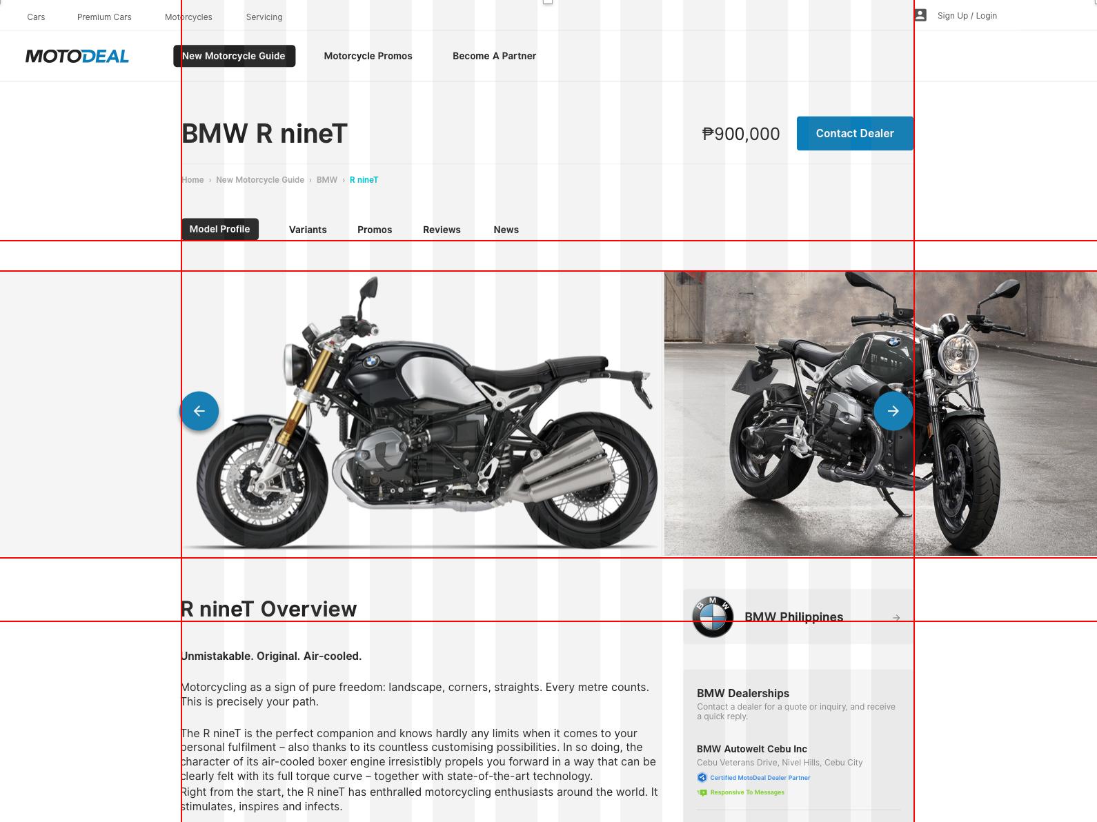 MotoDeal ui grid desktop design bikes motodeal sketch mockup desktop web autodeal.com.ph