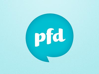 PFD Studios logo speech bubble round friendly fun happy