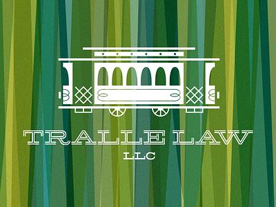 Tralle Law logo trolley train retro pattern texture law legal