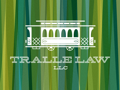 Tralle Law logo trolley train retro pattern texture law legal