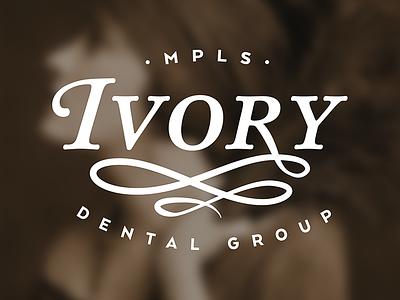 Ivory Dental logo typography dental dentist vintage ivory swash classic