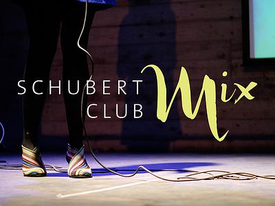 Schubert Club Mix music concert logo typography brush script bright fun