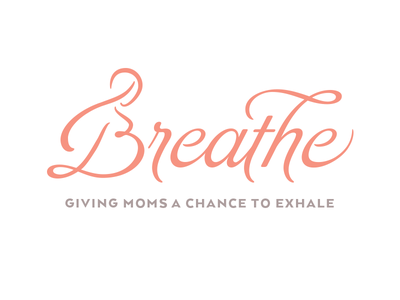 Breathe Logo Concept doula pregnancy mother baby bump feminine typography type script breathe gentle