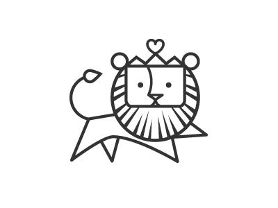 Lion icon animal logo line crown heart cat cub