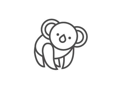 Koala koala bear animal line logo icon cute