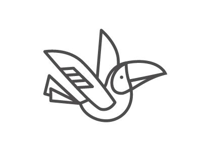 Toucan toucan fly bird tropical line logo icon wing