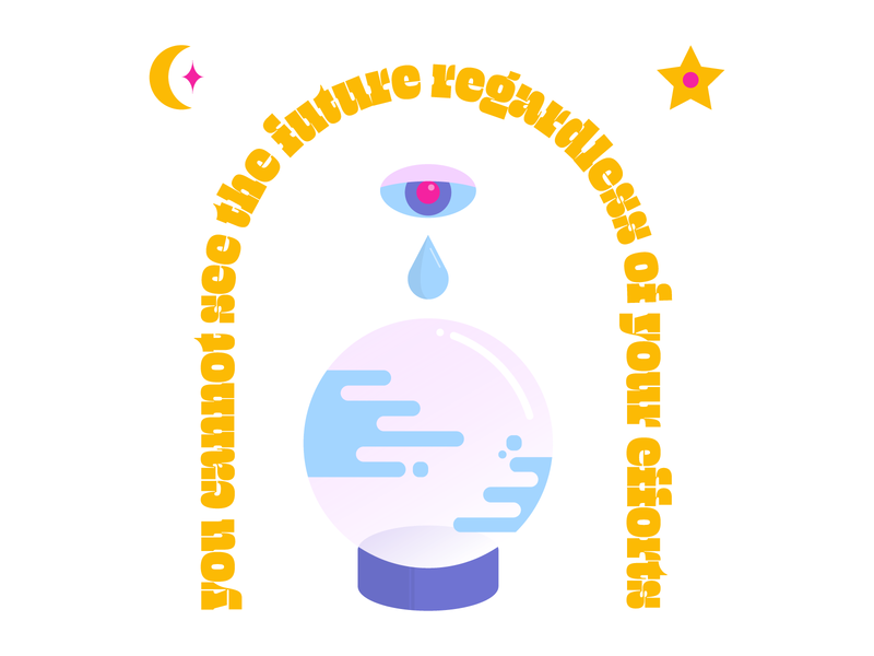 Can't See the Future moons stars pastels illustration graphic design future soothsayer celestial crystal ball vector illustration
