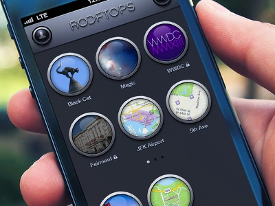 Rooftops home screen rooftops ios iphone photoshop ui stone interface
