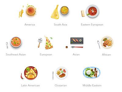 World Cuisine Icons icon vector food cuisine hamburger curry borsch tomyamkung pizza sushi kebab tabelog