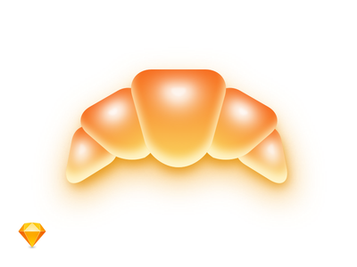 Fluffy Croissant fun source sketch food icon