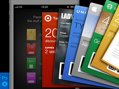 Passbook GUI PSD ios iphone ios6 psd source freebie passbook pass template card
