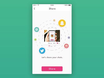 Day010 - Social share dribbble ui app instagram twitter social share