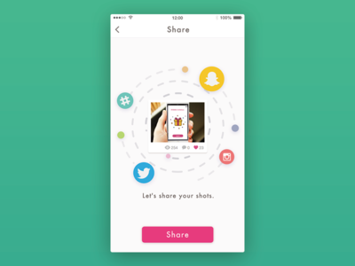Day010 - Social share dribbble ui app instagram twitter social share