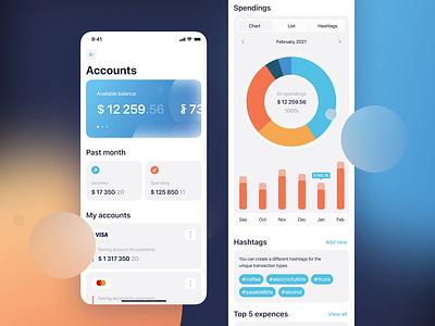 Personal financial management (PFM) App Concept draft light mobile banking finance concept