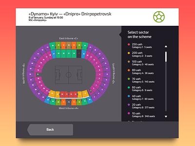 Stadium Schema Screen sport sector schema stadium purchase tickets payment finance kiosk terminal flat minimal