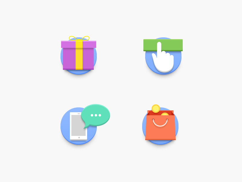 Loyalty Program Icons for Promo Site present shop sell buy bank finance clean simple minimal flat material icon