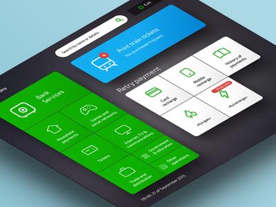 Privat Terminal Kiosk — Home Screen dark dashboard home tile web design app clean flat terminal atm kiosk