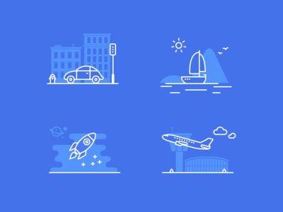 Gps Speed — Behance Icons sun traffic sea airport space ship rocket plane car icons stroke outlines