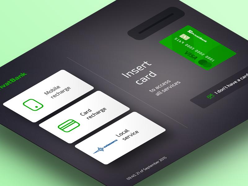Privat Terminal Kiosk — Welcome Screen dark material login mastercard visa mobile finance payment bank card atm