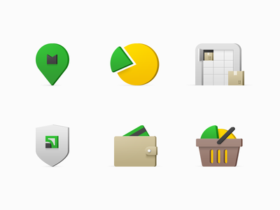 Icons for PrivatMarket Website box secure purchase cart wallet card delivery pie chart location pin icon
