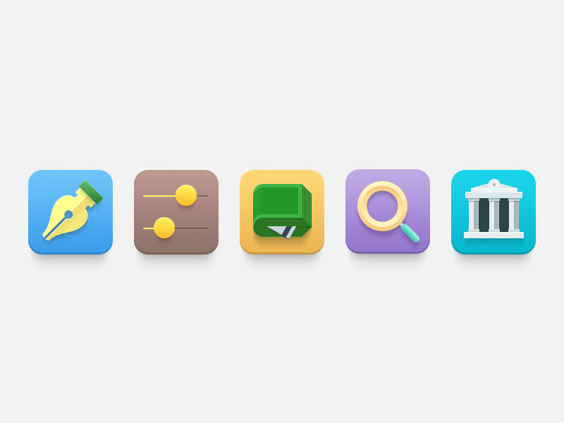 Kvit Icons options dollar building state search finance money cash settings pen illustration icon