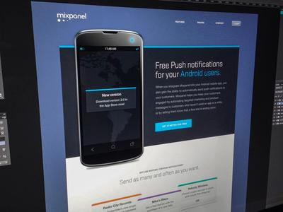Mixpanel Android Landing Page mixpanel web design landing page android mobile blue orange teal purple noise notification proxima nova stratum