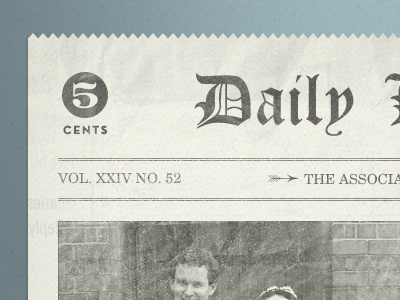 5 Cent Newspaper typography vintage distressed grunge template