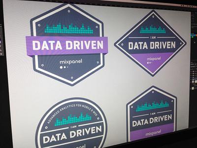 Mixpanel T-Shirt Badge Concepts mixpanel badges data blue purple teal geogrotesque brandon stratum t-shirt