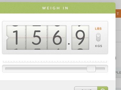Weigh In Modal ui ux modal texture slider toggle counter proxima nova