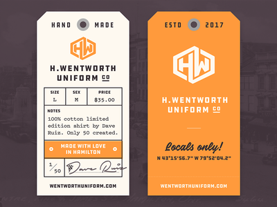 H. Wentworth Clothing Tag