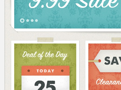 Deal Of The Day vintage texture script icons green orange aqua